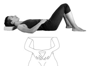 Supine rest pose to release the low back and soften the belly